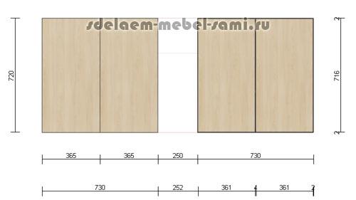 расчет размеров распашных фасадов