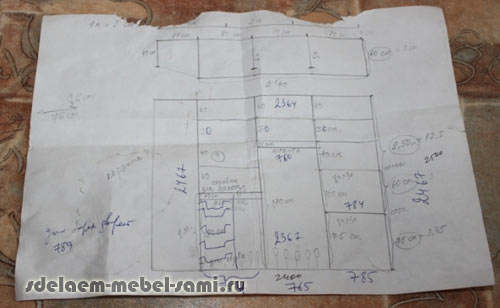 проектирование мебели - чертеж