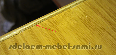 неаккуратно поклееная кромка 2 мм